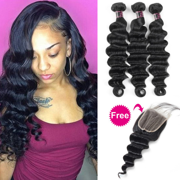 Buy 3Bundles Get A Free Closure Deep Loose Brazilian Human Hair Bundles Loose Wave with Closure Yaki Straight Deep Wave Straight Body Water