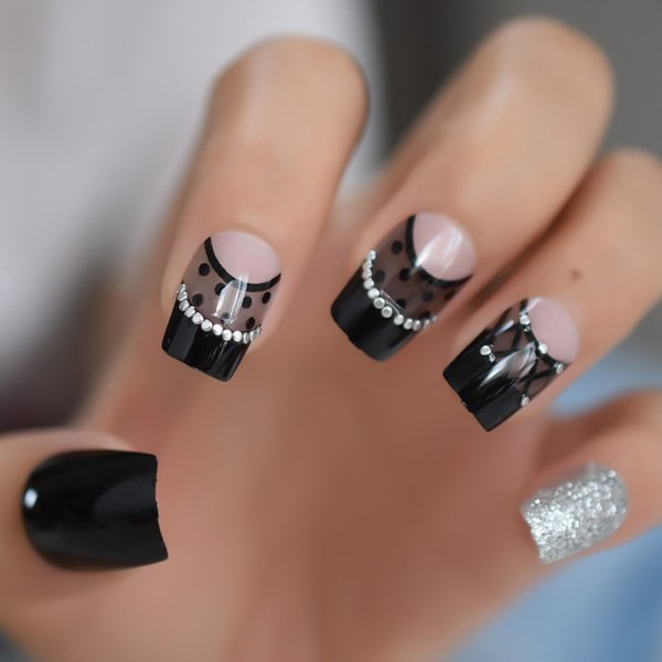 Black Gray French False Nails Medium Acrylic Silver Glitter Full Artificial Press on Nails Tips Pattern Nep Nagels Faux Ongles