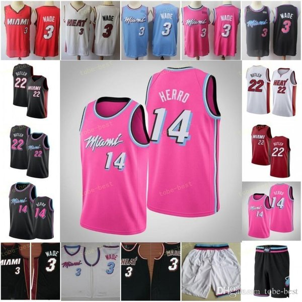 online retailer d4ab1 81cf5 2019 2019 New Miami Dwyane 3 Wade Jerseys Red White Black Pink Tyler 14  Herro Cheap Mens Goran 7 Dragic Jimmy 22 Butler Basketball Jersey Short  From ...