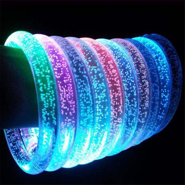 LED Acrylic Glitter Glow Flash led Bracelet Light up toys Sticks Luminous Crystal Hand Ring Bangle Stunning Dance Party Christmas Gifts
