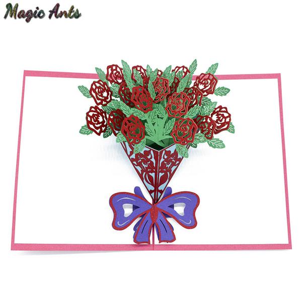 Acheter Un Bouquet De Fleurs Roses Carte 3d Pop Up Cadeau D Anniversaire Avec Invitation Invitation Découpée Au Laser D Enveloppe Carte De Voeux Carte