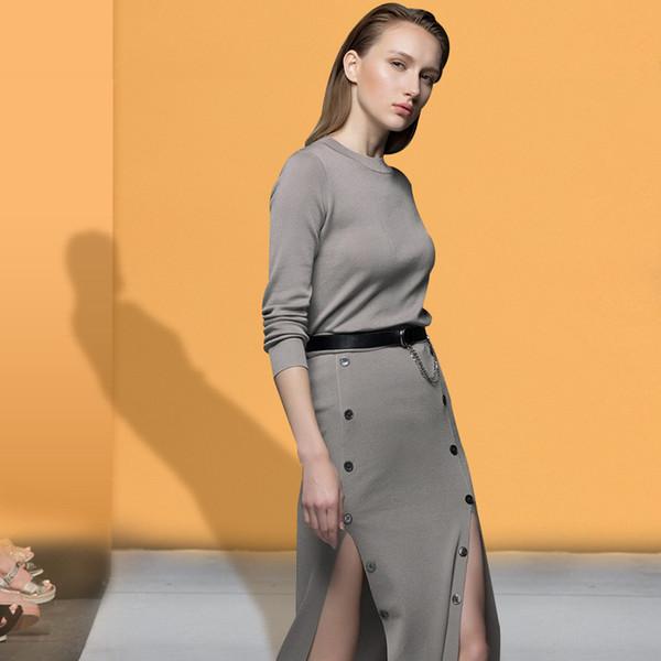 2019 Primavera e No Outono Roupas Femininas Nova Tendência Simples Cor Sólida Em Torno Do Pescoço De Malha Longo-mangas Blusa Fino Fino Vestido