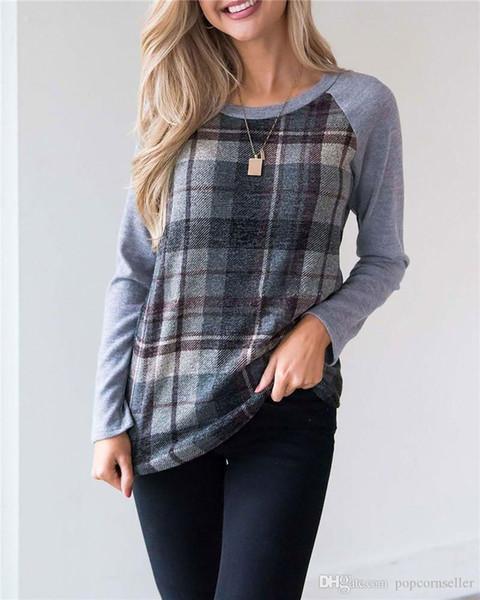 + Fashion Designer Women Shoulder SleeveT Shirt manica lunga girocollo a contrasto colore T Shirt Top Abbigliamento femminile allentato