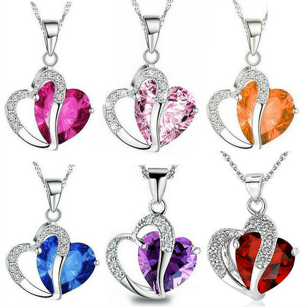 2019 Hot Sell Top Class Fashion Heart Power Necklaces Crystal Jewelry New Girls Women Jewelry