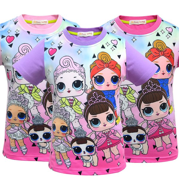 Suprise Girls Kids T-shirts 2019 Cartoon Dolls Short Sleeve Tops Baby Casual Girls Tees Kids Clothing Q150