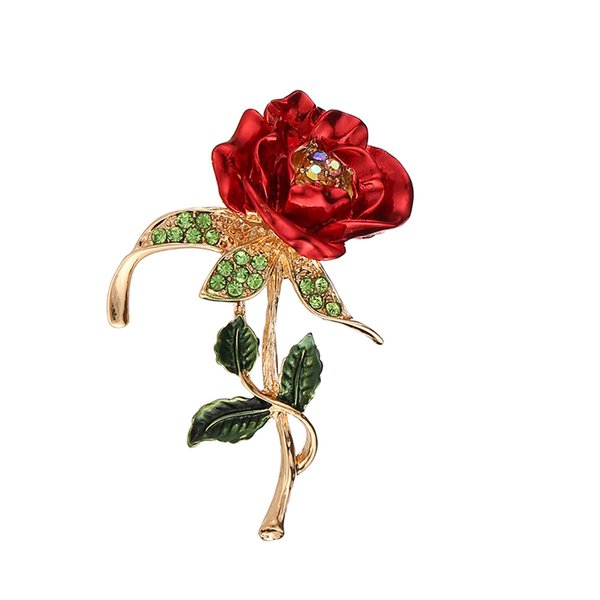 2019 European and American fashion new ladies diamond rose brooch wedding dress brooch accessories free shipping