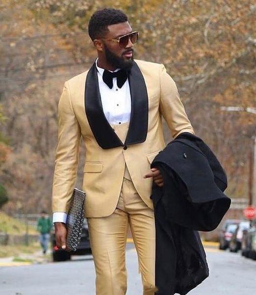 Beautiful Gold Groom Tuxedos Men Formal Suits Business Men Wear Wedding Prom Dinner Suits Custom Made(Jacket+Pants+Tie+Vest)