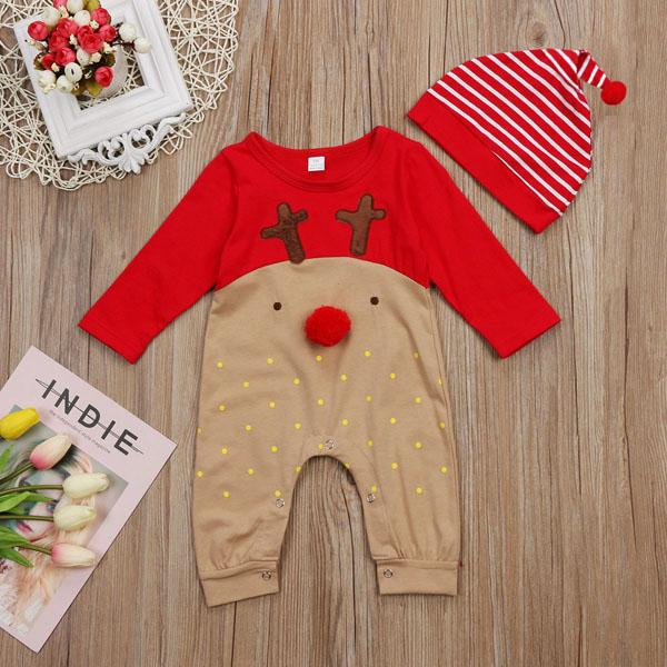 New Christmas Spring Autumn Infant Baby Cartoon Deer Rompers with Hat Kids Long Sleeve Onesies Overalls Jumpsuits Children Rompers 14359