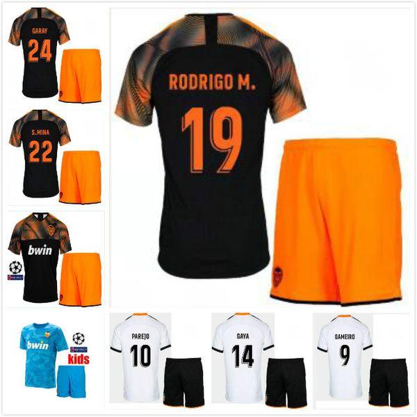 2019 Valencia CF Futbol Forması çocuklar Camiseta equipacion del Valencia 19 20 evden uzakta çocuklar + çorap Parejo Batshuayi Gameiro Futbol GÖMLEK