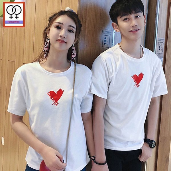 Matching Couple T-Shirts Lovers Preppy Style Girls Boy Cute Sweet O Neck Top Tees White print love Couple T Shirt Cotton 272