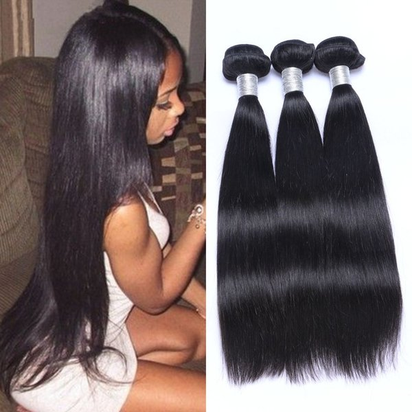 Straight Hair Bundles Mongolian 100% Human Hair Weave Bundles Natural Color Non Remy Hair Weave 3 Pieces Ping