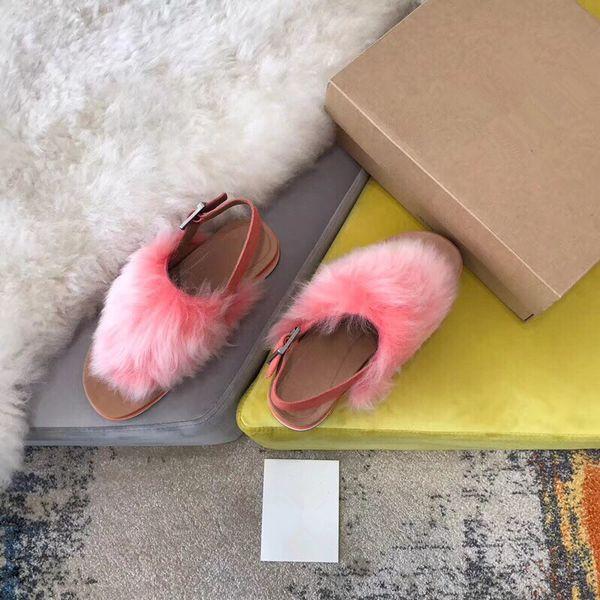 A 2019 Slides Winter Luxury Designer Red Black Grey Pink Purple Sheep Fur Brand Womens Warm Sandals Slippers House Flip Flops gpz190702