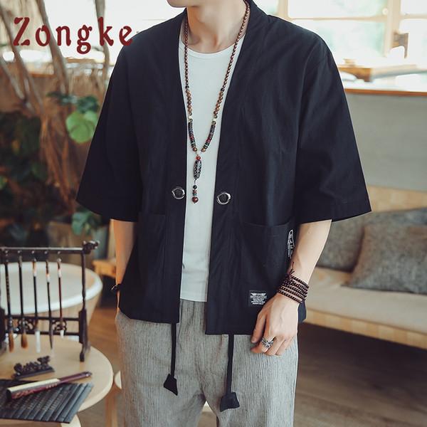 Acquista Cappotto Cardigan Kimono In Lino Stile Cinese Zongke Giacca Kimono Uomo Giapponese Streetwear Uomo Giacca Uomo Hip Hop 2019 Primavera A