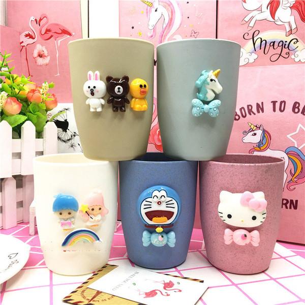 Cartoon Cups Mug Kids Baby Girl 3D Animal Mugs Water Cup Unicorn Cat Gargle Cup for Boy Animation Movie Figure