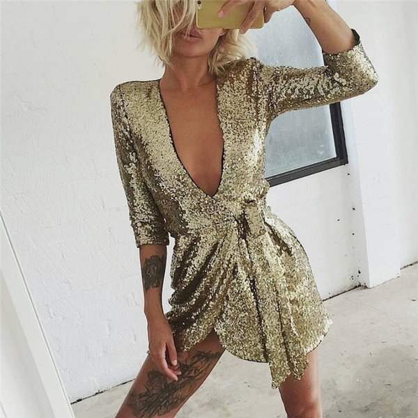 Try Everything Gold Sequin Dresses Women 2018 Summer Deep V Neck Sexy Dress Club Wear Mini Short Dresses Party Night Vestidos D19010501