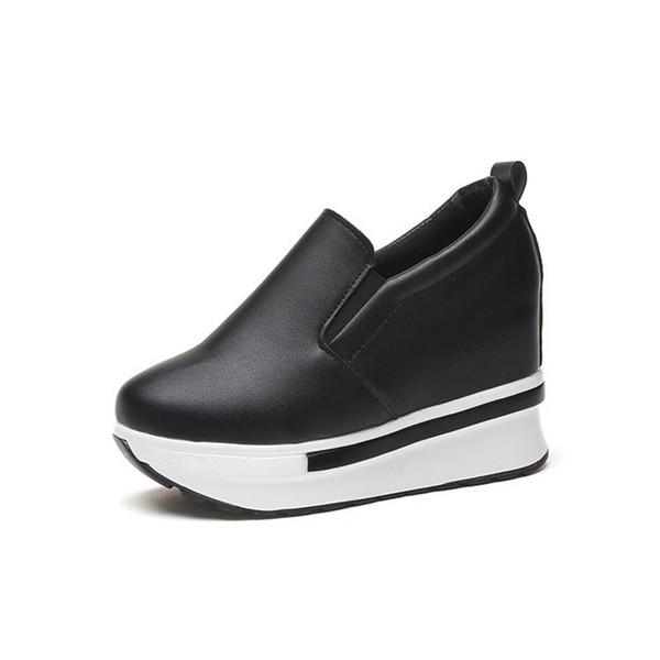 Sapatos de Salto escondido Mocassins Mocassins 2019 Primavera Nova Plataforma do Estudante Sapatos de Salto Alto Das Senhoras Casuais Sapatos Pretos Mulher Moda Sneakers