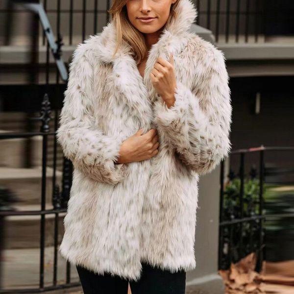 Kış ceket Kadınlar Parka 2019 Yeni Kış Kalın Coat Kadınlar Sıcak Faux Kürk Palto Uzun Kollu Faux Kürk