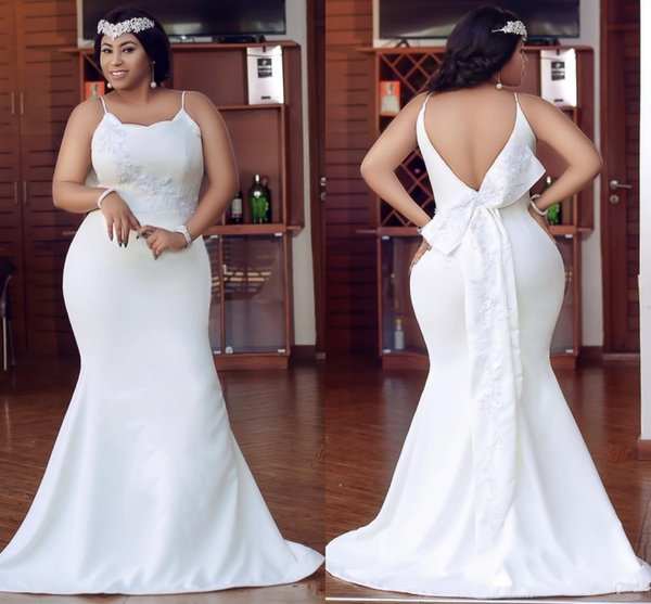 Plus Size Ivory Mermaid Bridesmaid Dresses Spaghetti Backless Appliques  Garden Country Wedding Guest Party Dress For Women Maid Of Honor Beach ...