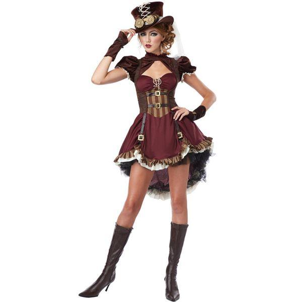 Costume vittoriano Steampunk femminile Pirati gotici Maiden Halloween Costumi Cosplay sexy