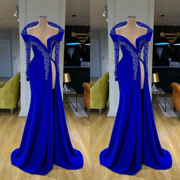 Prom Dresses High Split Long Sleeve