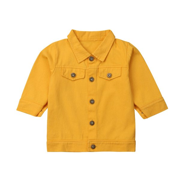 Children Baby Girl Kids Outerwear Coat Denim Jacket Jeans Three Quarter Sleeve Solid Yellow Girls Tops 1-6T