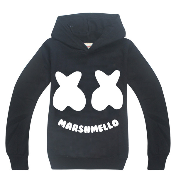 Cartoon Kids Hoodie Sweatshirt DJ Marshmello Mask Music Style Hooded Coat For 6-14 Years Children Boys Girls Outerwear Clothes