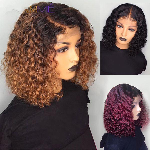 13 * 4 150% Densità Breve Bob omber pizzo Capelli ricci anteriore dei capelli umani parrucche brasiliana dei capelli umani merletto della parte anteriore parrucche per Black Woman