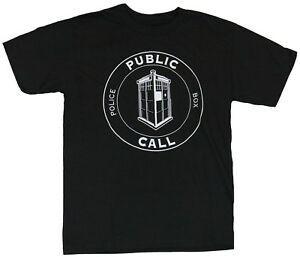 Docteur Who Mens T-shirt DR Who Police Appelez Public Box Circle Image
