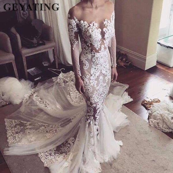Vintage Lace Long Sleeves Mermaid Wedding Dress 2019 Sexy Illusion Back Appliques Custom Wedding Bridal Gowns Robe de mariage