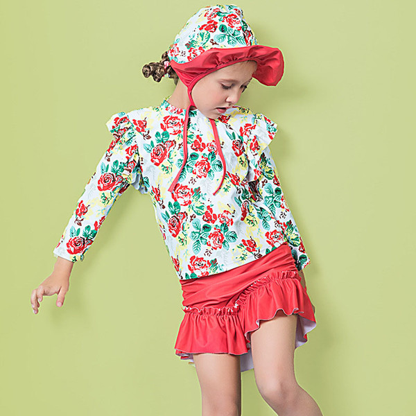 Children Two pieces Swimsuit Kids Printed Long sleeves Swimwear With Swim Cap Three-pieces suit Striped Cherry bikini for girls