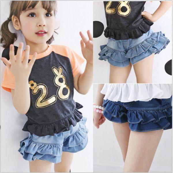 Moda Meninas denim hot shorts crianças double falbala cowboy shorts crianças número impresso cor patchwork manga curta T-shirt F6324