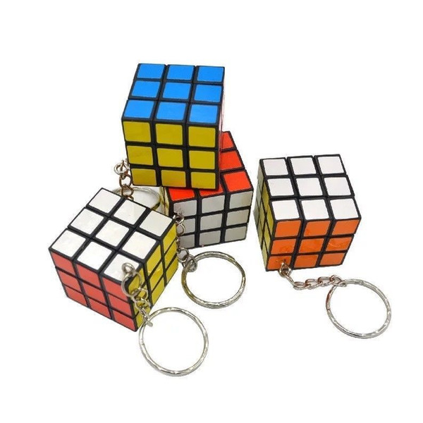 3 X 3 X 3 CM Mini Magic Cube Puzzle KeyChain Toy Pendant Key Ring Square key ring kids toy gift 120PCS