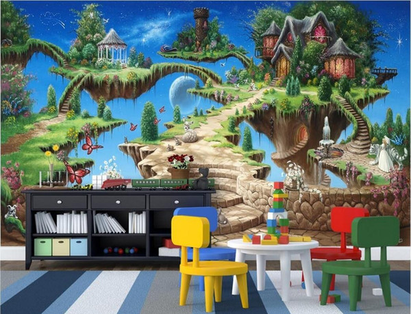WDBH 3d wallpaper custom photo Beautiful dream cartoon fairy tale castle children's room home decor 3d wall mural wallpaper for walls 3 d