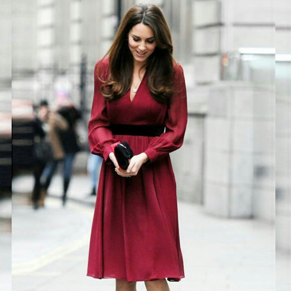 Kate Middleton Same Wine Red Dress Long Sleeve Slim Office Lady Celebrity Same Sexy V Neck Autumn and Winter Dress