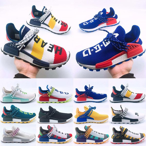 Yeni Varış İnsan Yarışı Hu Trail Koşu Ayakkabıları Erkek Kadın Pharrell Williams Sarı Asil Mürekkep Çekirdek Siyah Tasarımcı Spor Eğitmenler Sneaker 36-47