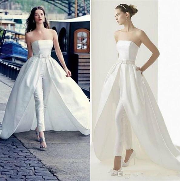 2019 Moda Pantaloni Abiti da sposa con treno staccabile Tuta Abiti da sposa senza spalline Abito formale Occasioni speciali