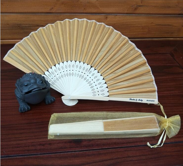 Personalized Laser-Cut name &date Luxurious Silk hand Fan Gift as wedding Gift with organza bag in 15colors available