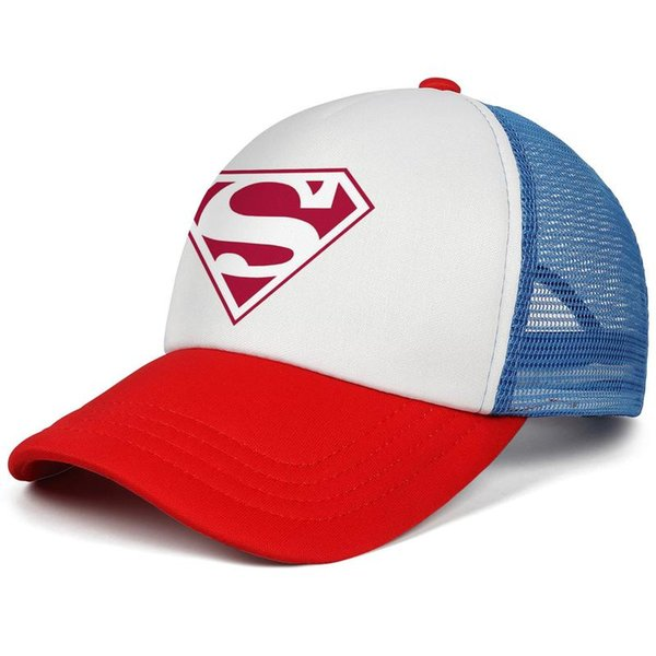 Superman Retro Logo Inspired White With Red Trim kids baseball caps Casual Teen baseball cap Fitted red cap fashion baseball caps hats