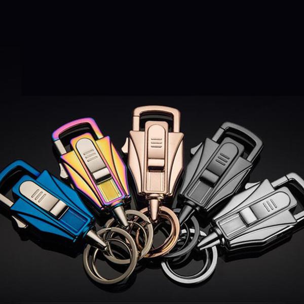 Yüksek Kalite Araba Anahtarlık erkek Çakmak Anahtar Kolye İşlevli Şarj Çakmak Yaratıcı Hediye Toptan Araba Anahtarlık