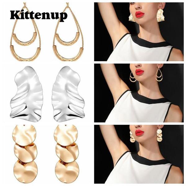 Kittenup Punk Water Drop Pendientes de metal para mujer Charm Geometric Dangle Earring Accesorios de moda