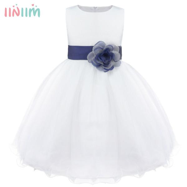 Iiniim Girls Flower Dress Children Bridesmaid Tutu Toddler Elegant Dress Pageant Wedding Tulle Formal Costume Party Dress Gift J190505