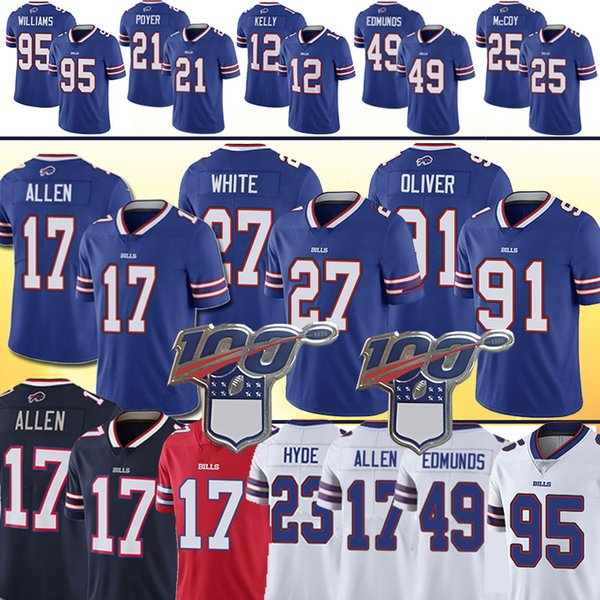17 Josh Allen 91 Oliver 49 Tremaine Edmunds Bill Jersey 34 Thurman Thomas 25 LeSean McCoy 95 Kyle Williams Jerseys 12 Jim Kelly