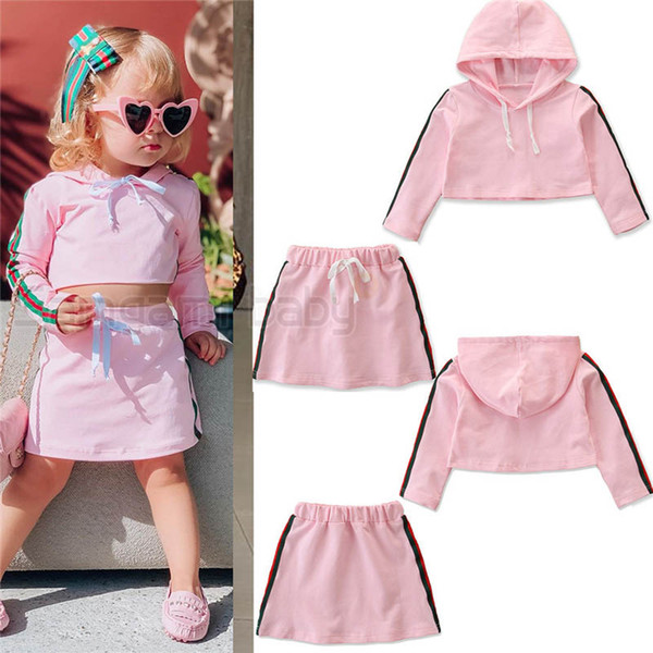 INS casual girls suits kids tracksuit girls tracksuit kids designer clothes girls shorts hoodie+skirt 2pcs/set Sport Suit A9667