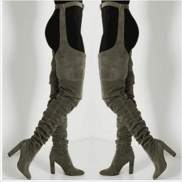 bota feminina inverno adulta com salto 2019 Botas largas sobre la rodilla Cintura puntiaguda Muslo Botas altas Tacones altos Largo #smt