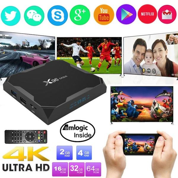top popular X96Max Android 8.1 Amlogic S905X2 Quad Core 2.4G WiFi BT H.265 Smart TV Box 2019