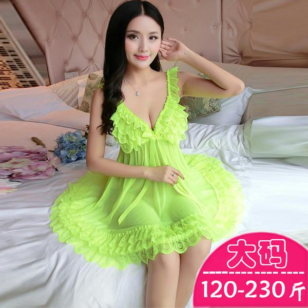 Gordura MM Euramerican Underwear Sleepwear com Tamanho Grande Senhora Atraente Rendas Transparente Sono Saia 230 Tipos