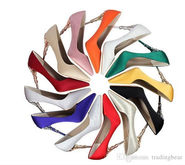Charm2019 13 Colors Carved Flower Cut Out Metal Heel Pointed Toe High Heels Bridesmaid Wedding Shoes To