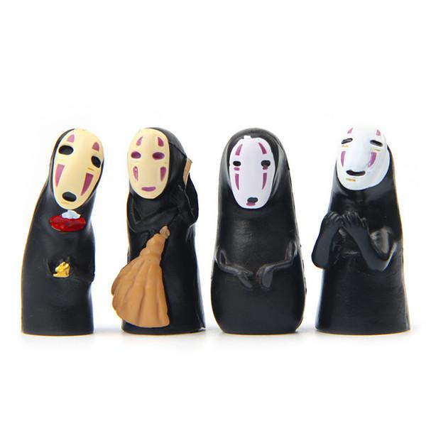 4pcs/lot pvc Spirited Away No Face Man Vinyl Action Figure Miyazaki Hayao Anime Kaonashi Model 3cm Decoration Doll Kids Toys.