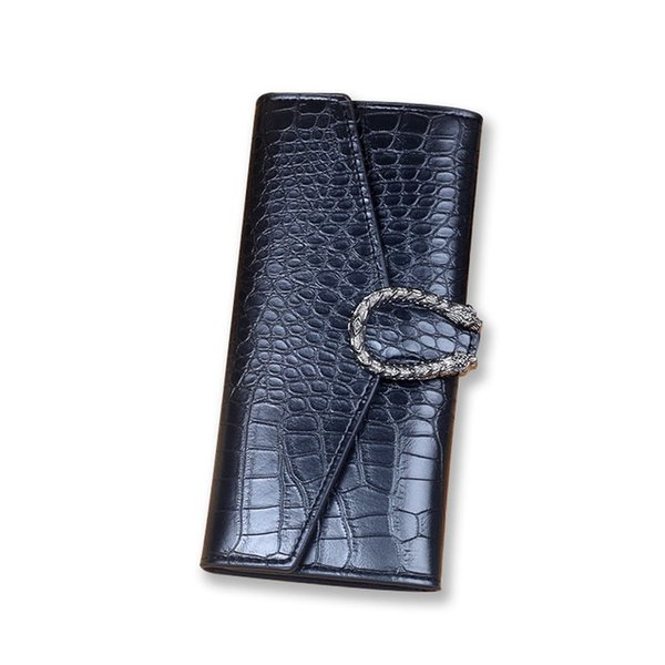 PU leather fashion trend solid color crocodile pattern ladies clutch bag Korean version of the long wallet
