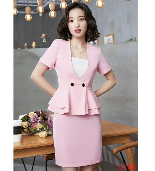 Summer Fashion Female Skirt Suits for Women Blazer and Jacket Sets Pink Office Ladies Work Wear Clothes